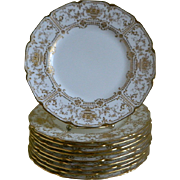 Set of 10, Royal Doulton, England Gold Encrusted Plates, Made for Marshall - Field & Co., ...