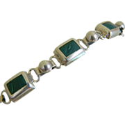 Sterling Silver Bracelet with Malachite Stones, Mexico