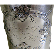 Very Early Rogers Bros Engraved Repousse Silver Plated Cup