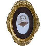 Early 1900's Metal Oval Frame with Photo