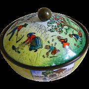 Vintage Austria Enamel Jar with Rural Scenes