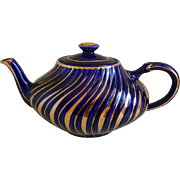 Arthur Wood England Swirl Cobalt and Gold Teapot