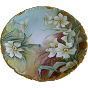 T V Limoges France Hand Painted Floral Plate, Artist Initials, 1907 - 1919