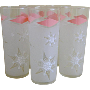 Set of 5 Anchor Hocking Retro Snowflake Frosted Glass Tumblers, 1961