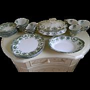29 Piece Set Wedgwood & Co. England Semi Royal Porcelain Green Transfer Ware Raleigh, 1892  ..