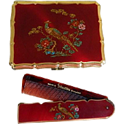 Stratton England Cigarette Case and Fold Out Comb, 1950's