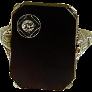 Art Deco Black Onyx with Diamond 18k White Gold Ring Size 5 3/4