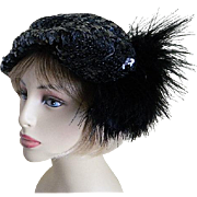 Created by Parfait New York Black Sequin Hat with Side Feathers, 1940's
