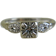 14k White Gold Diamond Ring, 1940 - 1950's Size 5 1/2