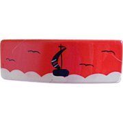 Lovely Red Barrette with Sailing Scene 1960-1970's