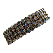 1950's Expandable Bracelet with Four Rows of Aura Borealis Rhinestones
