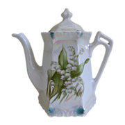Lovely Lusterware Lily of the Valley Porcelain Coffee Server, Germany Early 1900's