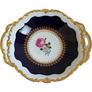 Reichenbach Fine China Cobalt with Floral Center Bowl with Handles, GDR