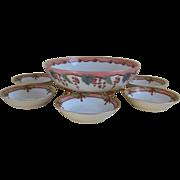 Tressemann & Vogt Limoges France handpainted Three Footed Fruit Bowl with 5 Serving Bowls GDA,