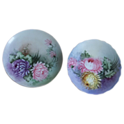 Set of  2 Hand Painted Chrysanthemum Design Moritz Zdekauer Plates, Austria, Artist Signed