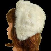Girl's White Rabbit Fur Hat