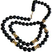 Monet Black and Gold Tone Necklace 1970-1980's