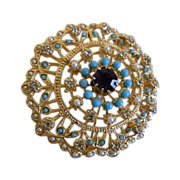 Lovely Gold Tone Brooch with Clear Rhinestones, Faux Pearls and Turquoise Colored Beads 1960's