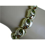 Crown Trifari Gold Tone Bracelet with Olive Green And Amber Colored Rhinestones