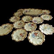 Antique Lanternier Limoges 14 Piece Ice Cream Set Decorated by Elite Limoges, Bawo & Dotte