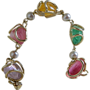 Coro Gold Tone Bracelet with Silver Faux Pearls and Colorful Art Glass