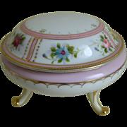 Charming Morimura Nippon Three Footed Hand Painted Vanity Jar 1906-1921