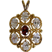 Striking Sterling Silver Pendant with Gold Tone Overlay and Sparking Rhinestones