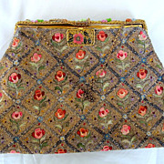 Long Stitch Embroidered Steel Beaded French Purse c 1930-40