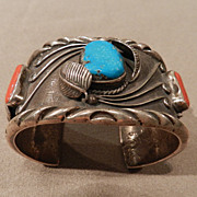 Solid 1970's Pawn Bracelet of Silver, Turquoise and Coral