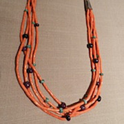 Coral Five Strand Heishi Necklace