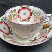 SALE PENDING Staffordshire Gaudy & Pink Luster Cup and Saucer Ca 1820