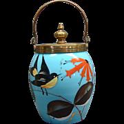 French Blue Opaline Glass Jam Jar With Enamel Painted Bird