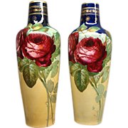 Pair Of Antique Art Nouveau Ernst Wahliss Alexandria Porcelain Works Vienna Vases With Roses