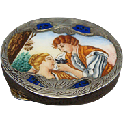 Continental Silver and Enamel Snuff Box With Young Couple