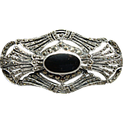 Large Sterling Silver Marcasite and Oynx Brooch Pin