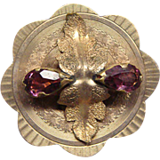 Victorian Gold Washed Brooch Pin Pendant With Amethysts