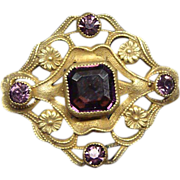 Beautiful Edwardian Brooch pin With Amethysts and Florets