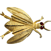 Vintage BSK Red Rhinestone Insect Pin Brooch
