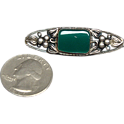 Beautiful Sterling Silver and Green Onyx  Mexican Brooch Pin