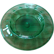 "Large Carder Steuben Optic Ribbed Emerald Green Glass Bowl - 14"" Diameter"