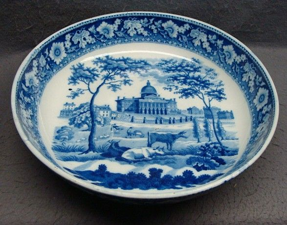 "American Historical Staffordshire11 1/2"" Serving Bowl Boston State House by Rogers, c. 1830"