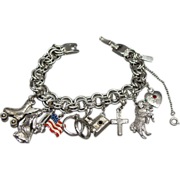 Vintage Sterling Silver Charm Bracelet Religious Charms Lords Prayer