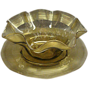 Victorian Olive Green Thread Threaded Glass Bowl and Underplate