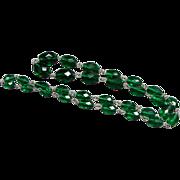 "Vintage 28"" Bohemian Emerald Green Cut Glass Graduated Bead Necklace"