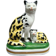 Miniature French Gold Anchor Porcelain Spotted Cat & Kitten Figurine