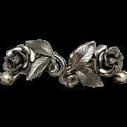 Vintage Reis Sterling Silver & Pearl Floral Earrings