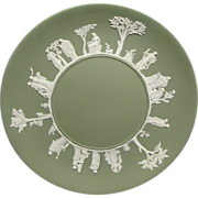 is this beautiful sage green jasperware plate. It is impress marked Wedgwood Made in England 1