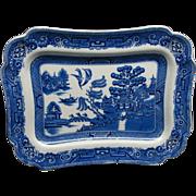 Antique English Bakewell Blue Willow Serving Platter
