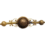 Victorian Gold Washed Fancy Filigree Brooch Bar Pin