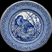 Dark Blue Antique Wedgwood Dinner Plate Woodcock & Nest